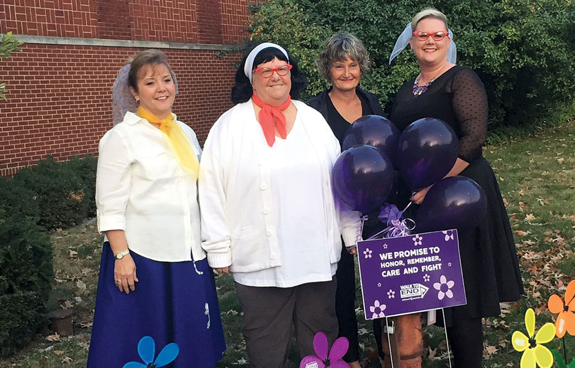 From left, Mary Lawhead, Catherine Chilcoat, Julie Ehrgood, and Coleen Frazier from the Alzheimer's Association's Walk to End Alzheimer's.